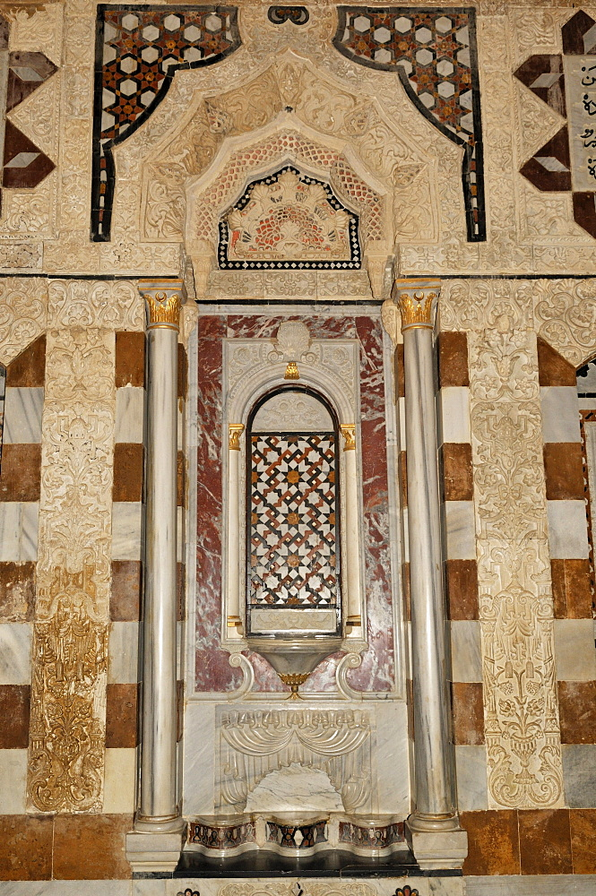 Marble decoration of a oriental living room in the historic Beit ed-Dine, Beiteddine Palace of Emir Bashir, Chouf, Lebanon, Middle East, West Asia