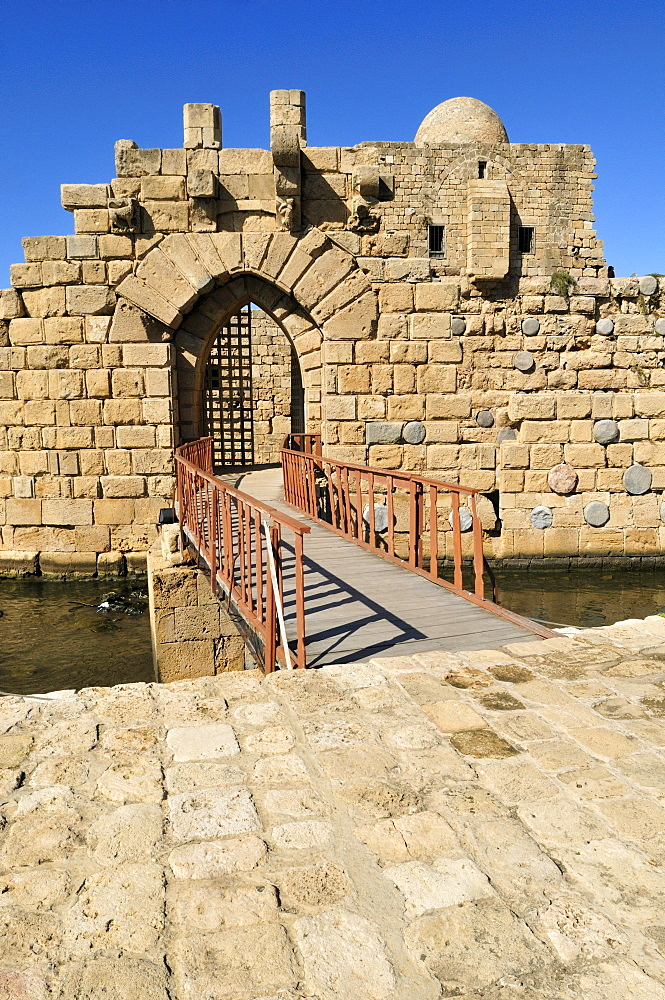 Entrance gate to the historic Crusader castle at Sidon, Saida, Lebanon, Middle East, West Asia
