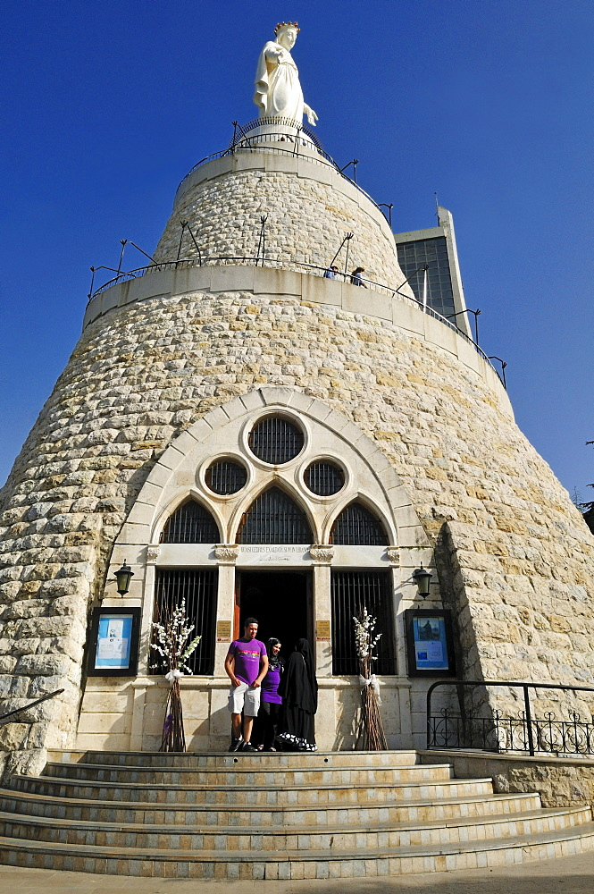 Maronite Our Lady of Lebanon St. Mary chapel and statue, Harissa, Lebanon, Middle East, West Asia