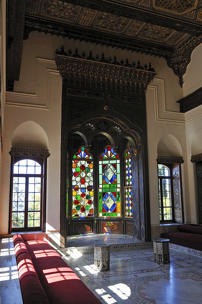 Oriental living room in the historic Beit ed-Dine, Beiteddine Palace of Emir Bashir, Chouf, Lebanon, Middle East, West Asia