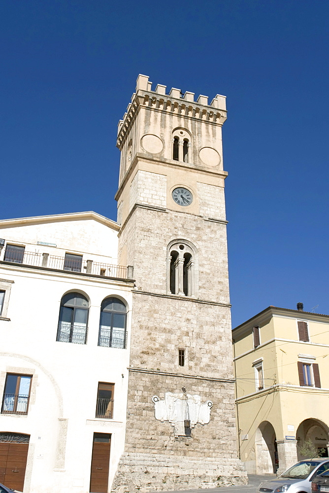 Torre Municipale, Civic Tower, year 1580, Piazza del Popolo, Cittaducale, province of Rieti, Latium, Italy, Europe