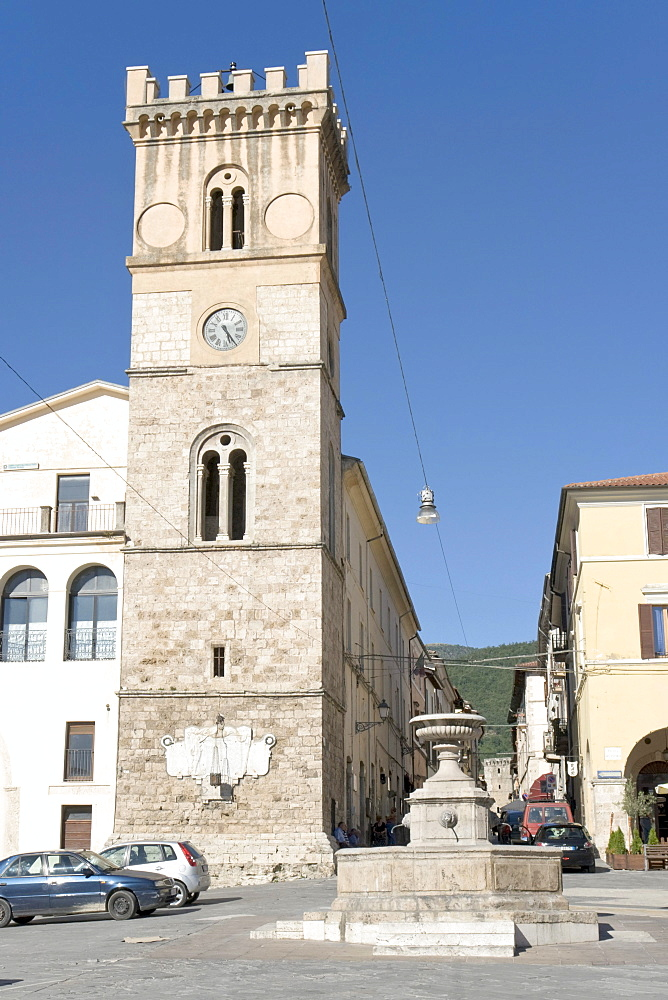 "Torre Municipale, Civic Tower, year 1580, and ""Fontana Pubblica"", public fountain, Piazza del Popolo, Cittaducale, province of Rieti, Latium, Italy, Europe"