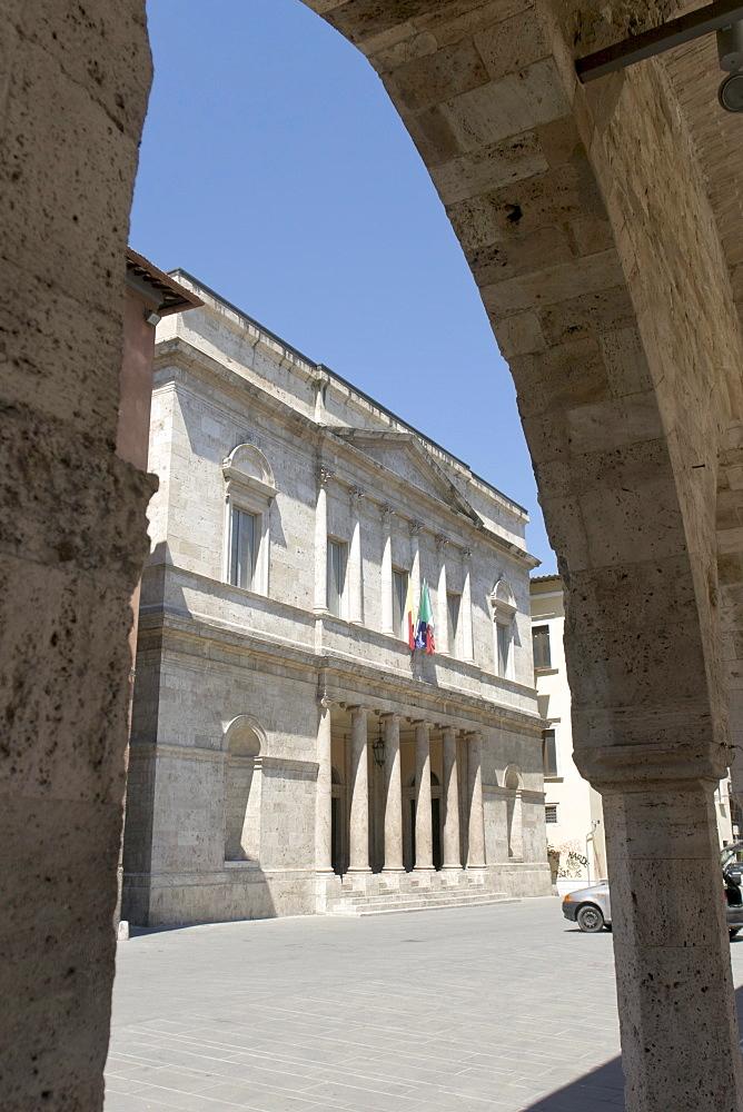 Neoclassic facade of the Teatro Ventidio Basso seen through the cloister Chiostro Maggiore di San Francesco, Ascoli Piceno, Marches, Italy, Europe