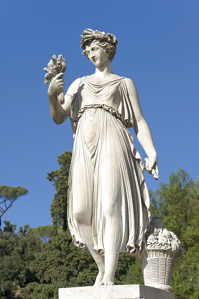 "One of the statues representing the four seasons, ""L'Estate"", Summer, by Italian sculptor Francesco Massimiliano Laboureur, 1824, Piazza del Popolo, Rome, Latium, Italy, Europe"