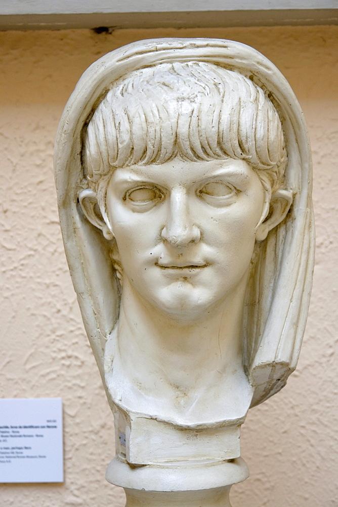 Replica of a portrait of a young man, thought to be Nero, midst of 1st century, original in the Museo Nazionale Romano, Museo della Civilta Romana, Rome, Latium, Italy, Europe