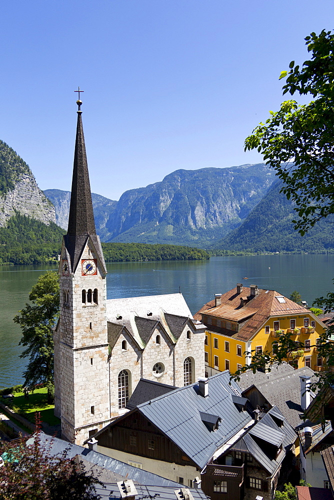 Hallstatt, evangelical church, Lake Hallstatt, Upper Austria, Austria, Europe