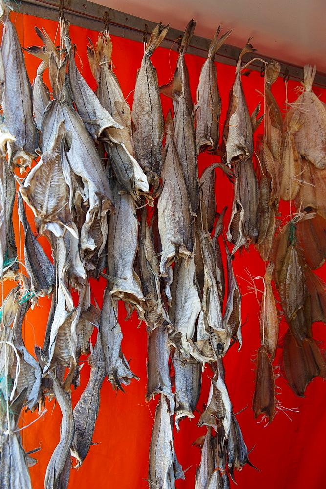 Dried fish, fish market, Ostend, Belgium, Europa