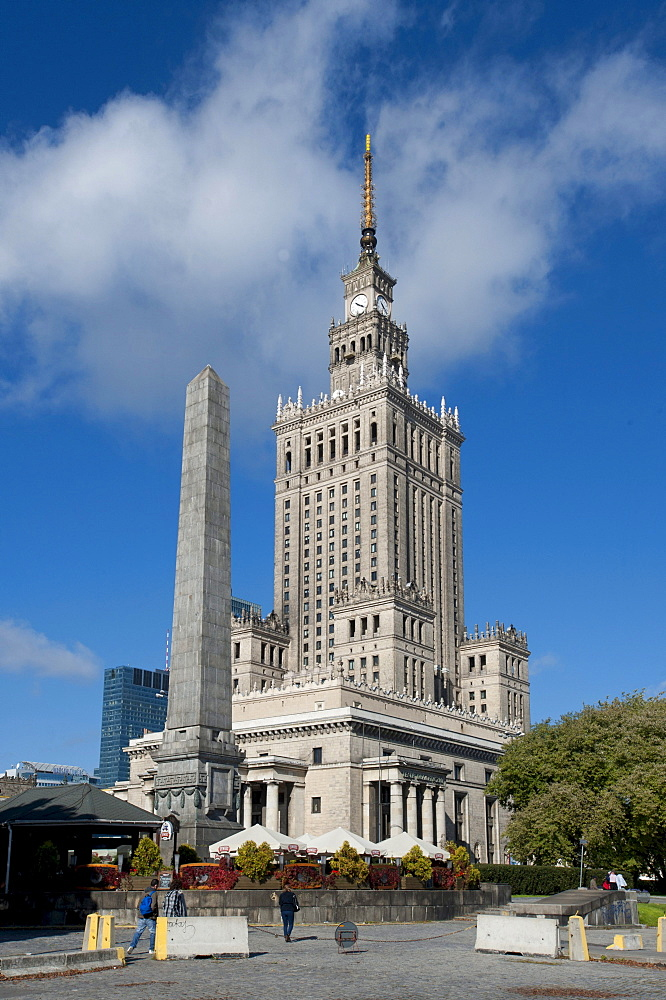 Palace of Culture and Science, high-rise building in a wedding-cake style, landmark, Warsaw, Mazowieckie, Poland, Europe
