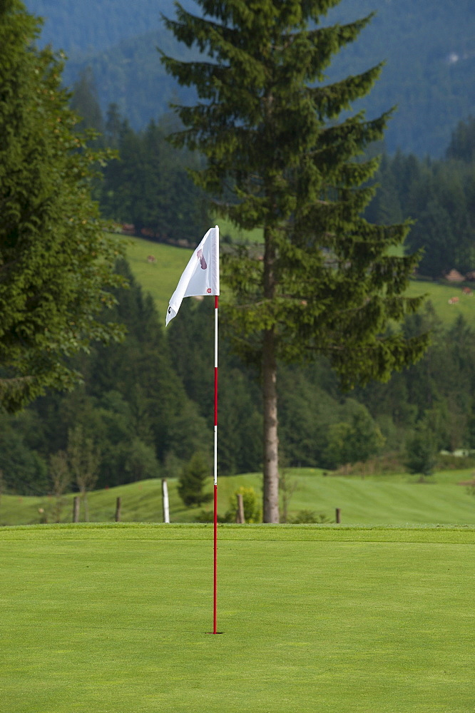Flag to indicate the hole on the green, golf course, Tyrol, Austria, Europe