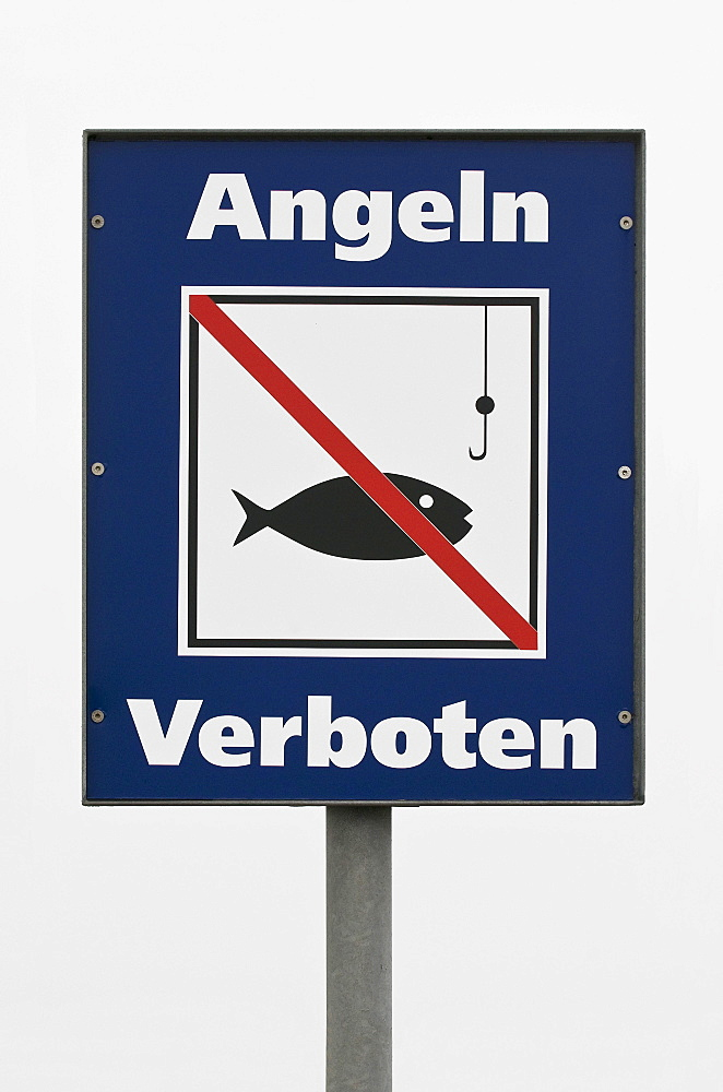 Prohibition sign, Angeln verboten, German for No Fishing