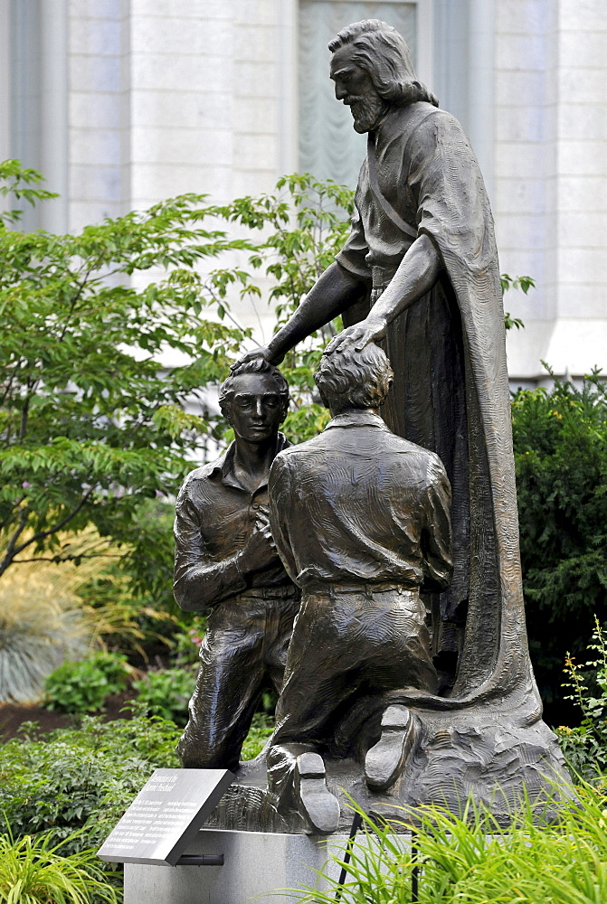 Monument for the restoration and reinstatement of the Melchizedek priesthood, Temple of The Church of Jesus Christ of Latter-day Saints, Mormon Church, Temple Square, Salt Lake City, Utah, Southwest, USA, North America