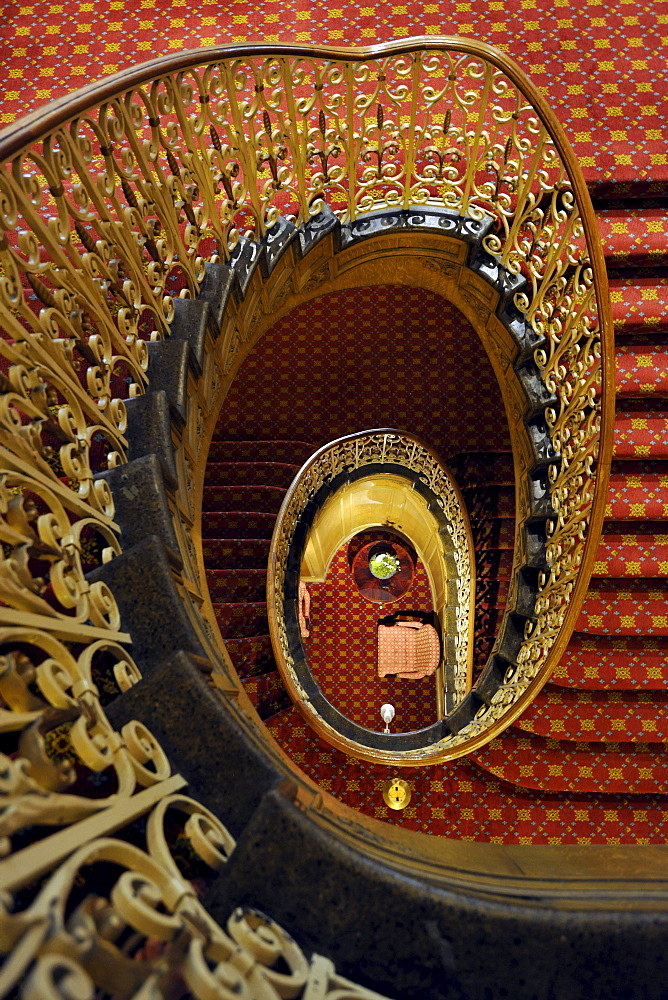 Staircase, luxury hotel Fairmont Olympic Hotel, Seattle, Washington, United States of America, USA