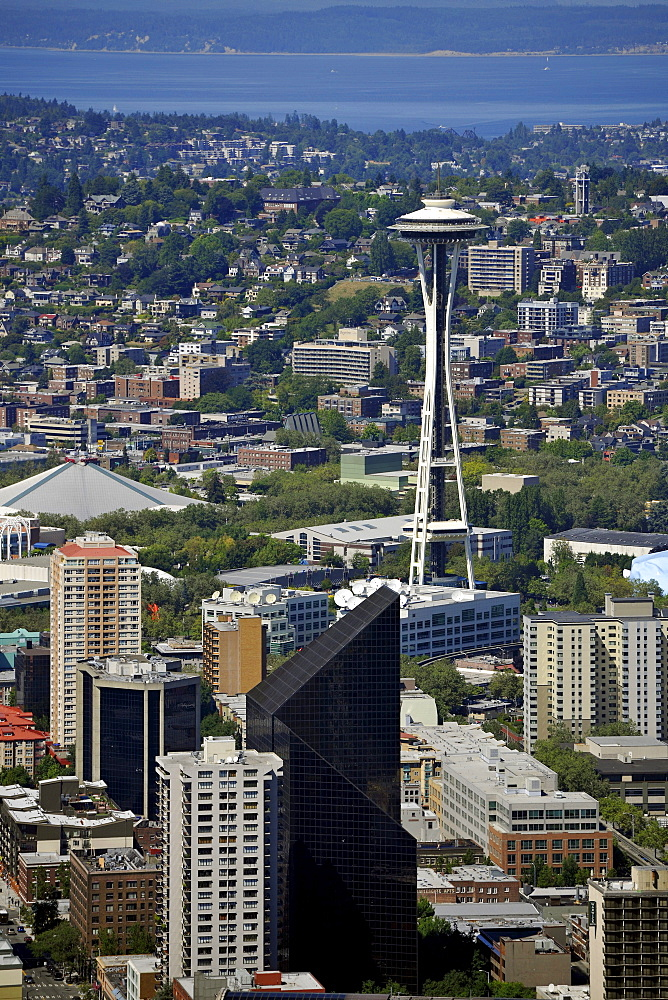 Looking north, Seattle Center, Space Needle, Lake Washington, Seattle, Washington, United States of America, USA