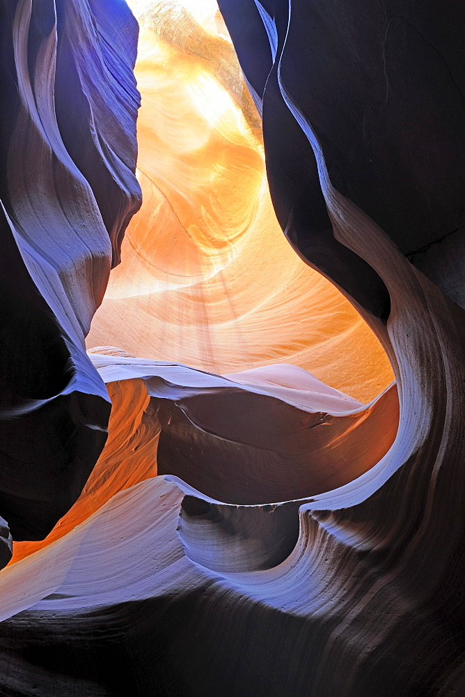 Rock shapes, colors and structures in the Antelope Slot Canyon, Arizona, USA, America