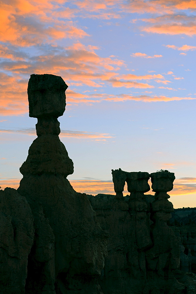 Thor's Hammer rock formation at dawn, Sunrise Point, Bryce Canyon National Park, Utah, USA, America