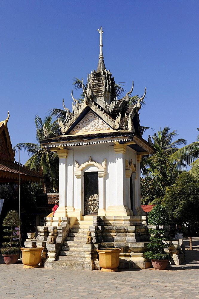 Pagoda Wat Thmey with the bones of victims of the Khmer Rouge, Cambodia, Southeast Asia, Asia