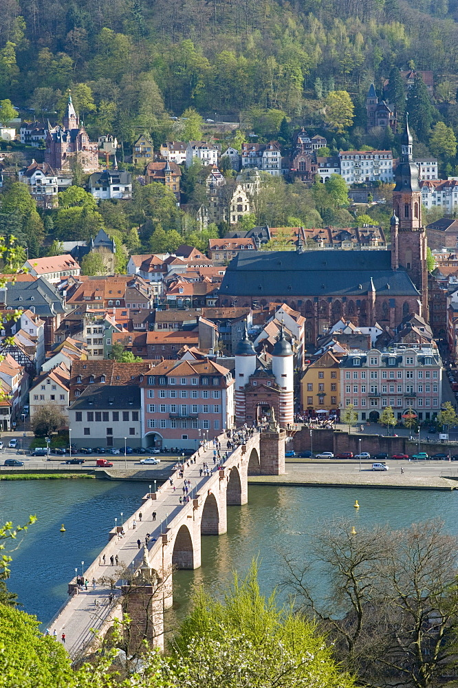 Cityscape with Old Bridge or Karl-Theodor Bridge, Bridge Gate and Holy Ghost Church, Heidelberg, Neckar, Palatinate, Baden-Wuerttemberg, Germany, Europe