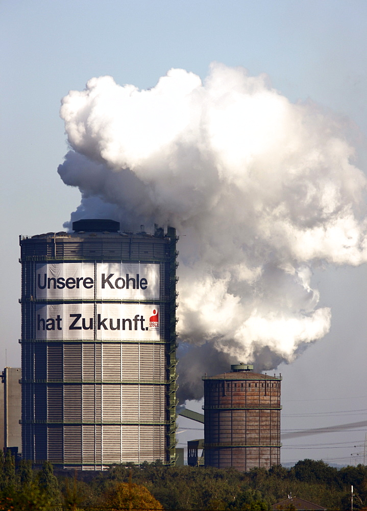 "Gas holder of the Kokerei Prosper coking plant, with a large poster of the IGBCE trades union with a lettering ""Unsere Kohle hat Zukunft"", German for ""Our coal industry has a future"", protest against the closure of coke plants and the reduction of subsidi"