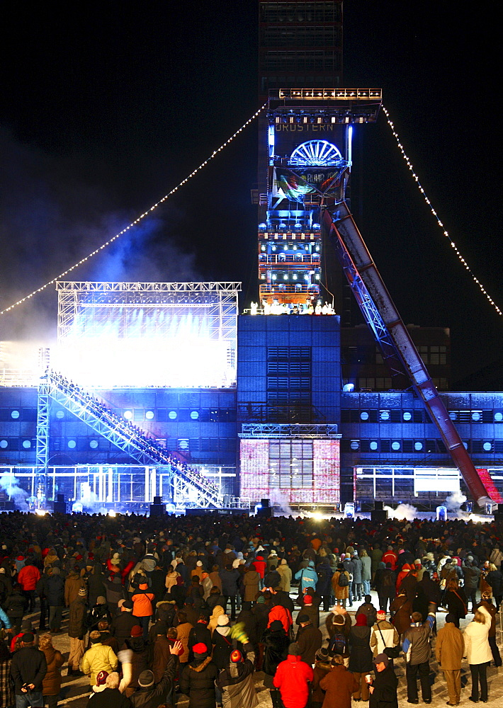 Final event of Ruhr2010, capital of culture year, former mine Zeche Nordstern is illuminated as a ship, live show, Gelsenkirchen, North Rhine-Westphalia, Germany, Europe