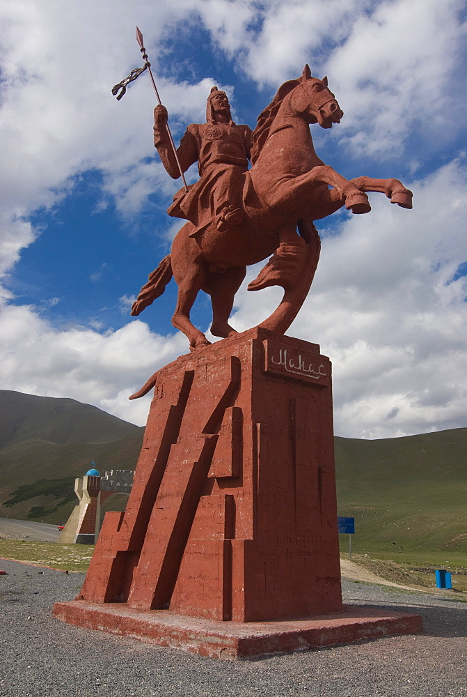 Equestrian statue, between Sary Chelek and Bishkek, Kyrgyzstan, Central Asia