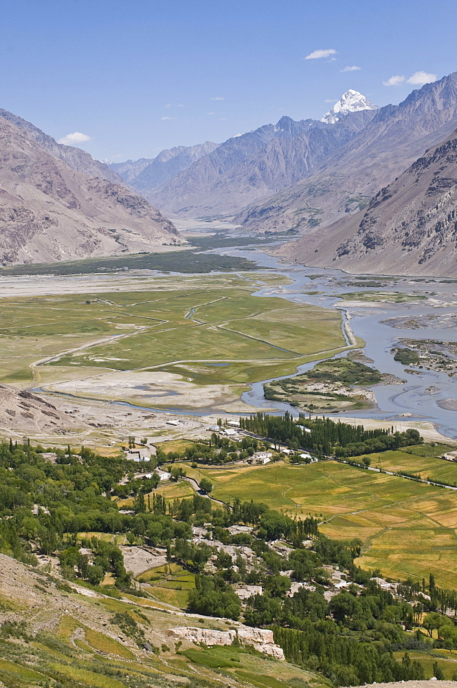 View of the mountain landscape of Langar, Wakhan Corridor, Tajikistan, Central Asia