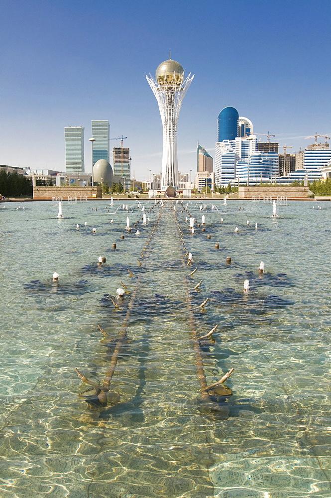 Fountains at Bayterek Tower, landmark of Astana, Kazakhstan, Central Asia