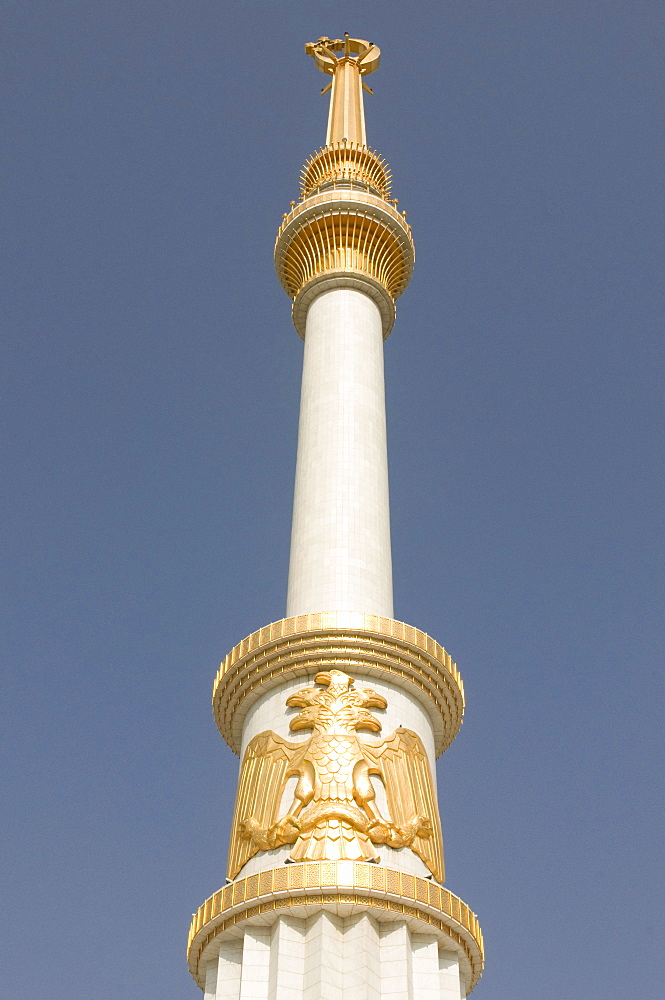 Column with golden decoration at the Monument of the Independence of Turkmenistan, Ashgabat, Kazakhstan, Central Asia
