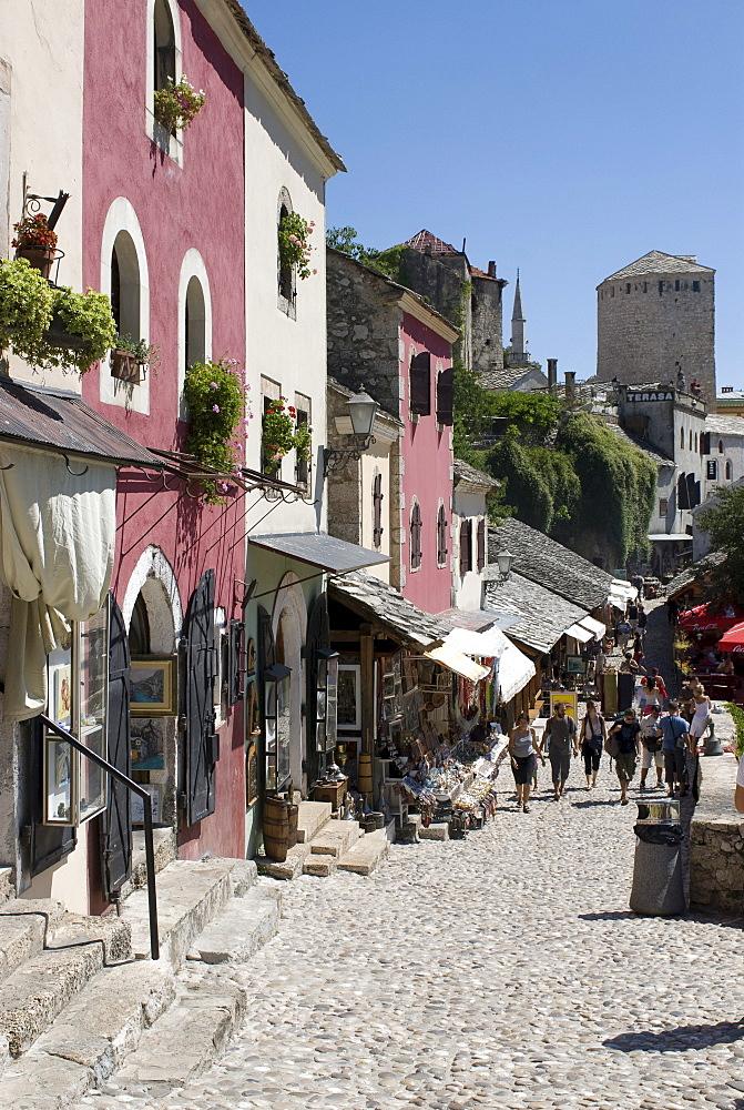 Pedestrian street in the city of Mostar, Bosnia, Europe