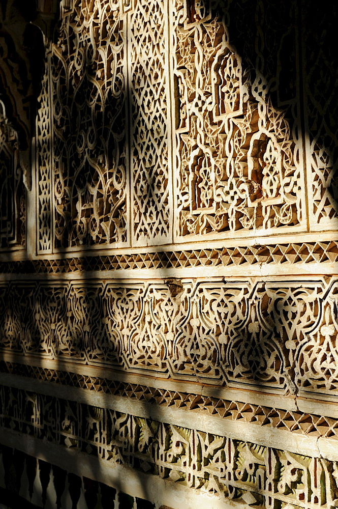 Stone carvings in the Palais de la Bahia, Marrakech, Morocco, Africa