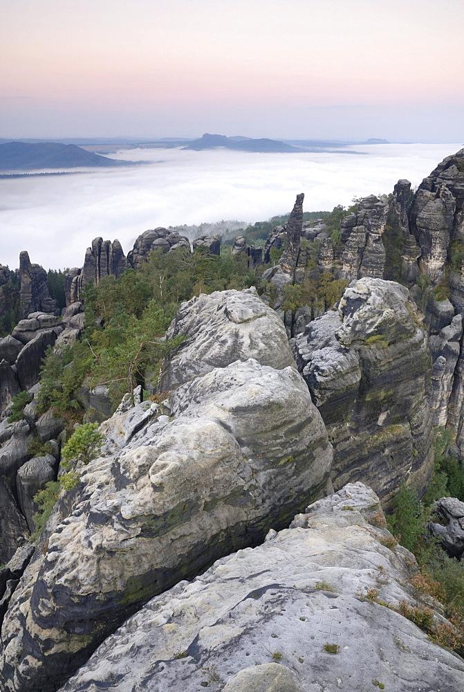 View of the Elbe valley from the Schrammsteine rock formations, Saechsische Schweiz, Saxon Switzerland, Elbe Sandstone Mountains, Saxony, Germany, Europe