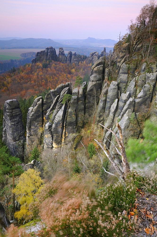 View of the Elbe valley from the Schrammsteine rock formation, Saechsische Schweiz, Saxon Switzerland, Elbe Sandstone Mountains, Saxony, Germany, Europe