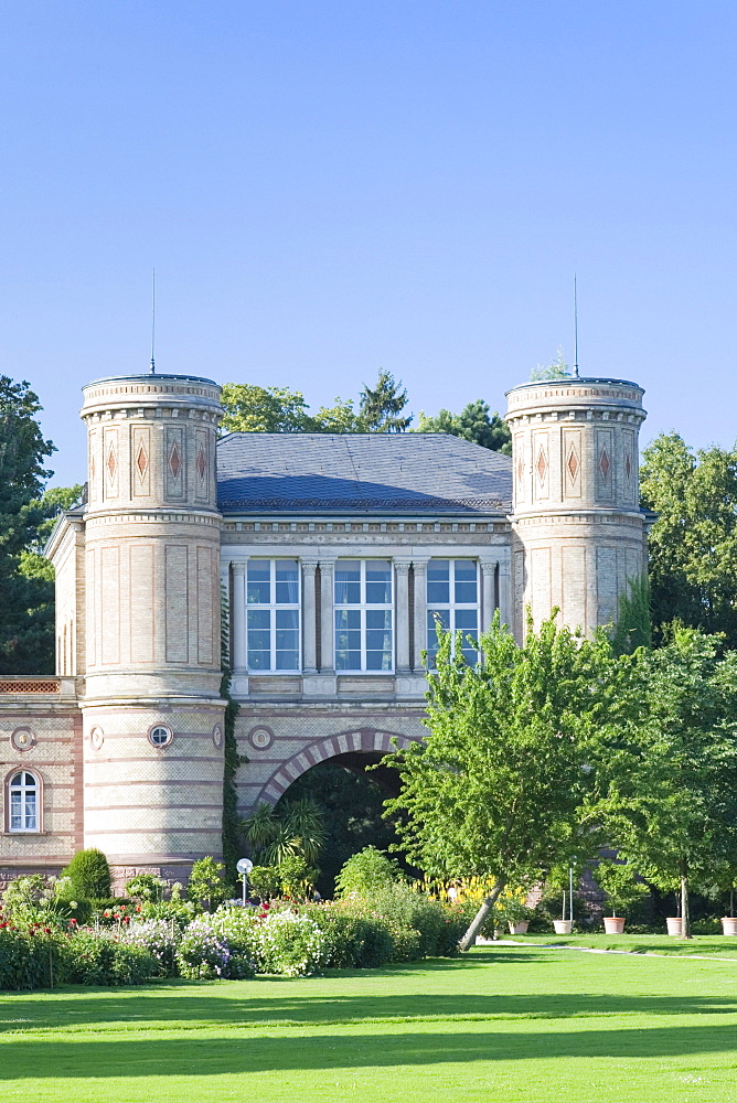 Entrance to the botanic garden in Karlsruhe, Baden-Wuerttemberg, Germany, Europe
