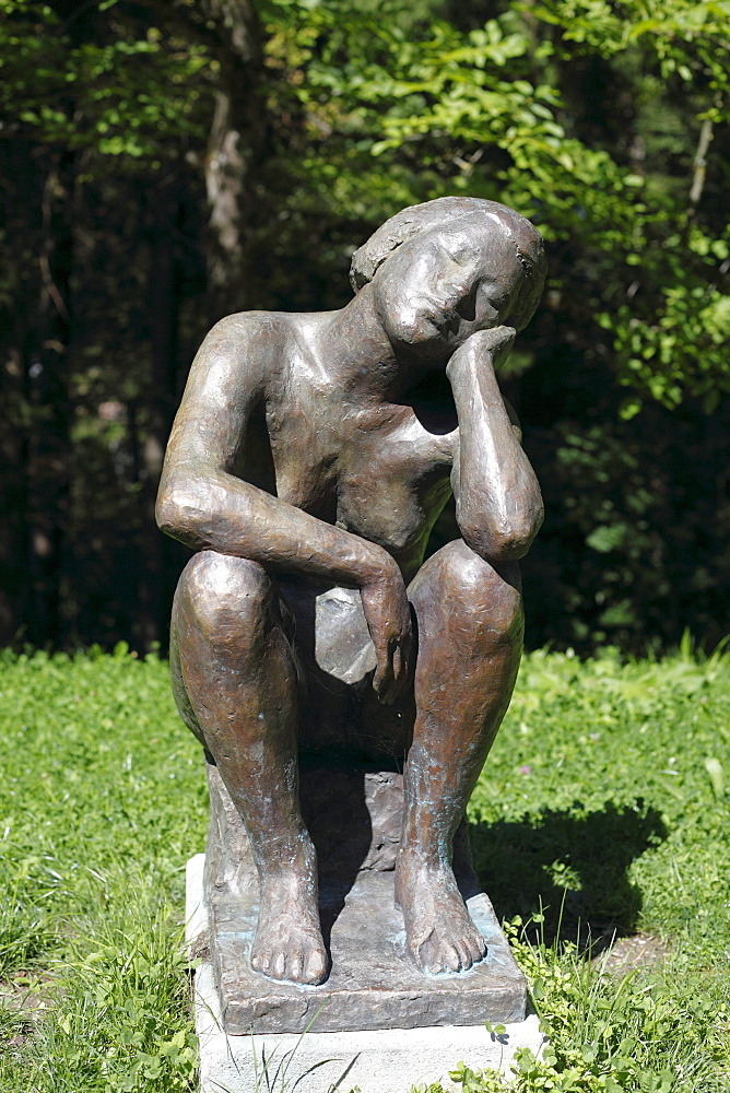 Bronze sculpture, Ruhende by Hans Stangl, 1933, Franz Marc Museum, Kochel, Upper Bavaria, Bavaria, Germany, Europe