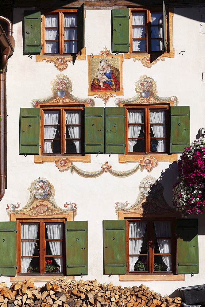 Facade with mural paintings called Lueftlmalerei on Loisachstrasse street, Garmisch district, Garmisch-Partenkirchen, Werdenfelser Land region, Upper Bavaria, Bavaria, Germany, Europe