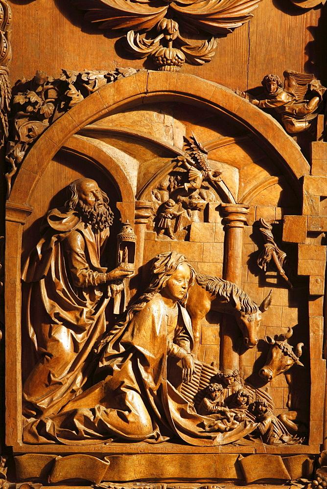 Left wing, late Gothic carved altar in the Wallfahrtskirche Mauer pilgrimage church near Melk, Wachau, Mostviertel region, Lower Austria, Austria, Europe
