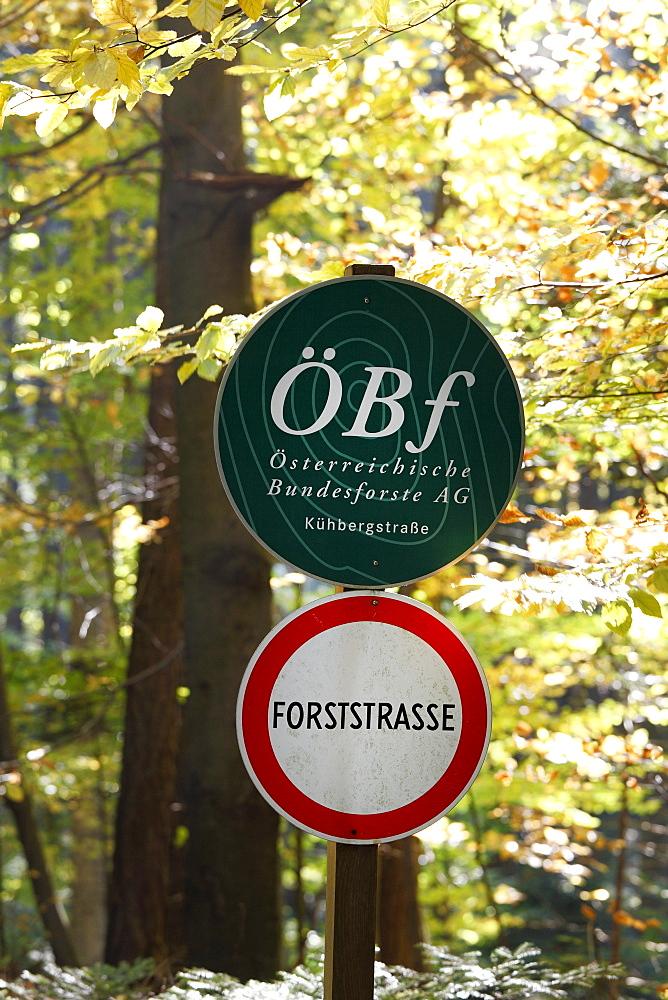 No unauthorised entry sign and a sign of the Oesterreichische Bundesforste AG, Austrian Federal Forest Association, in a forest, Wachau, Waldviertel, Forest Quarter, Lower Austria, Austria, Europe