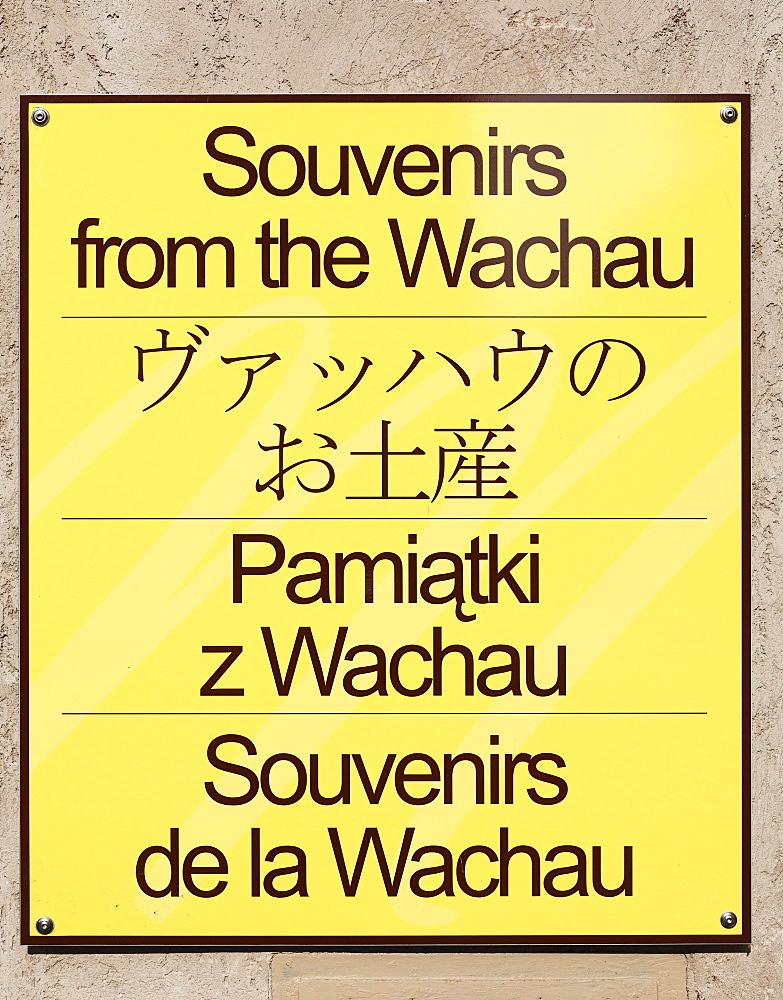 Four-language sign, Souvenirs from the Wachau, Duernstein, Wachau, Waldviertel, Lower Austria, Austria, Europe