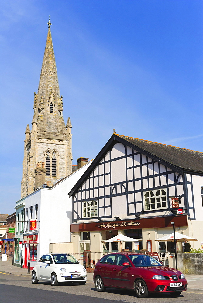 Fisherton Street with the spire of the United Reformed Church, and Slug and Lettuce restaurant, Salisbury, Wiltshire, England, United Kingdom, Europe