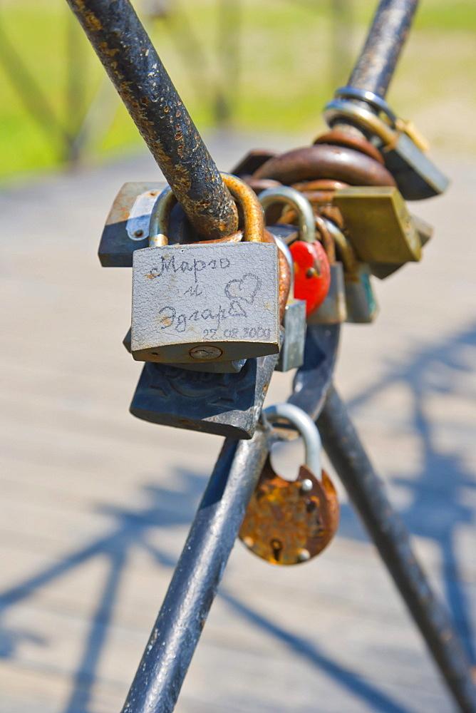 Padlocks on the bridge, wedding tradition, Festival Park, Rezekne, Latgale, Latvia, Northern Europe