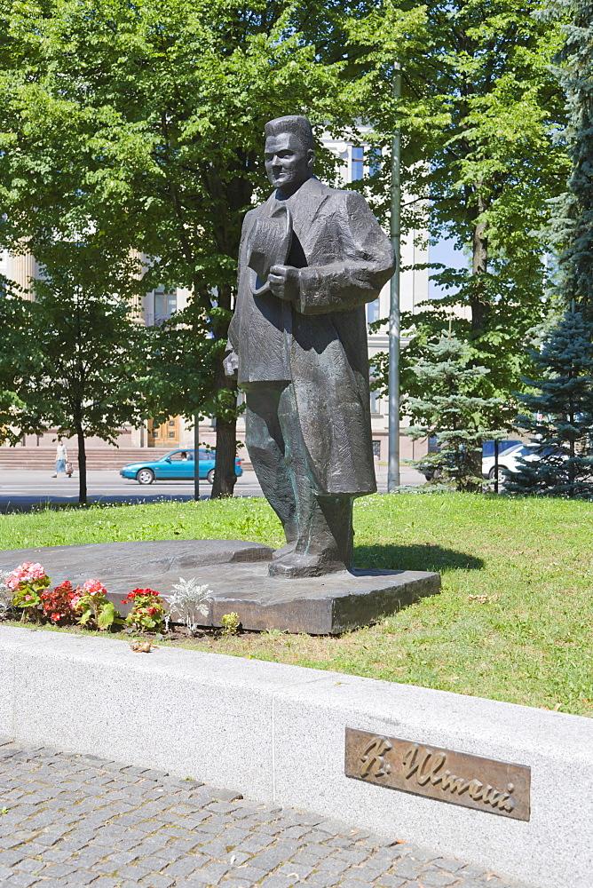 Monument to President Dr Karlis Ulmanis on the corner of Kr Valdemara Iela, Kr Valdemara Street, and Raina Bulvaris, Rainis Boulevard, Riga, Latvia, Northern Europe
