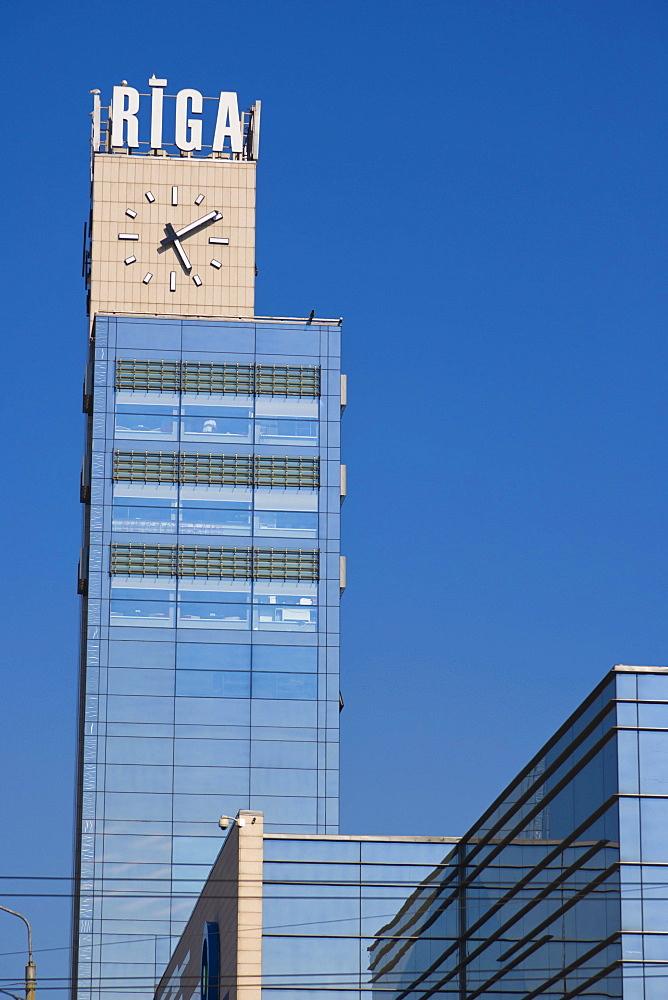 The Station Clock, landmark clock of the railway station of Riga, Latvia, Northern Europe