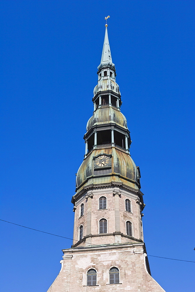 The spire of St Peter's Church, Peterbaznica, old town, Vecriga, Riga, Latvia, Northern Europe