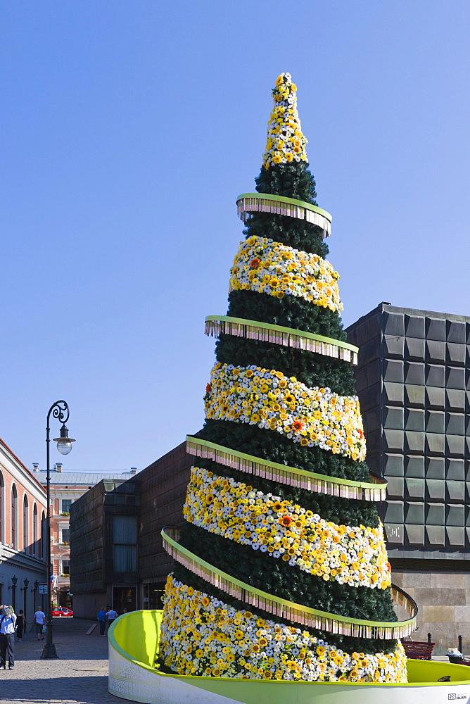 500th jubilee Christmas Tree, Town Hall Square, Ratslaukums, old town, Vecriga, Riga, Latvia, Northern Europe