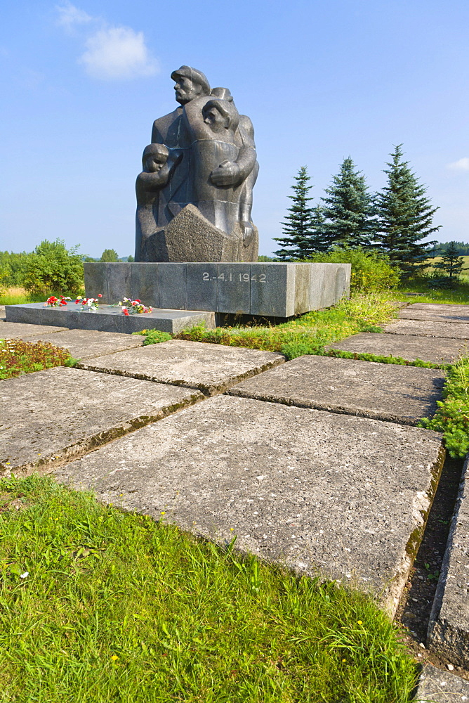 Monument in the place of mass execution of Audrini villagers during the Nazi occupation, Audrini Parish, Rezekne municipality, Latgale, Latvia, Northern Europe