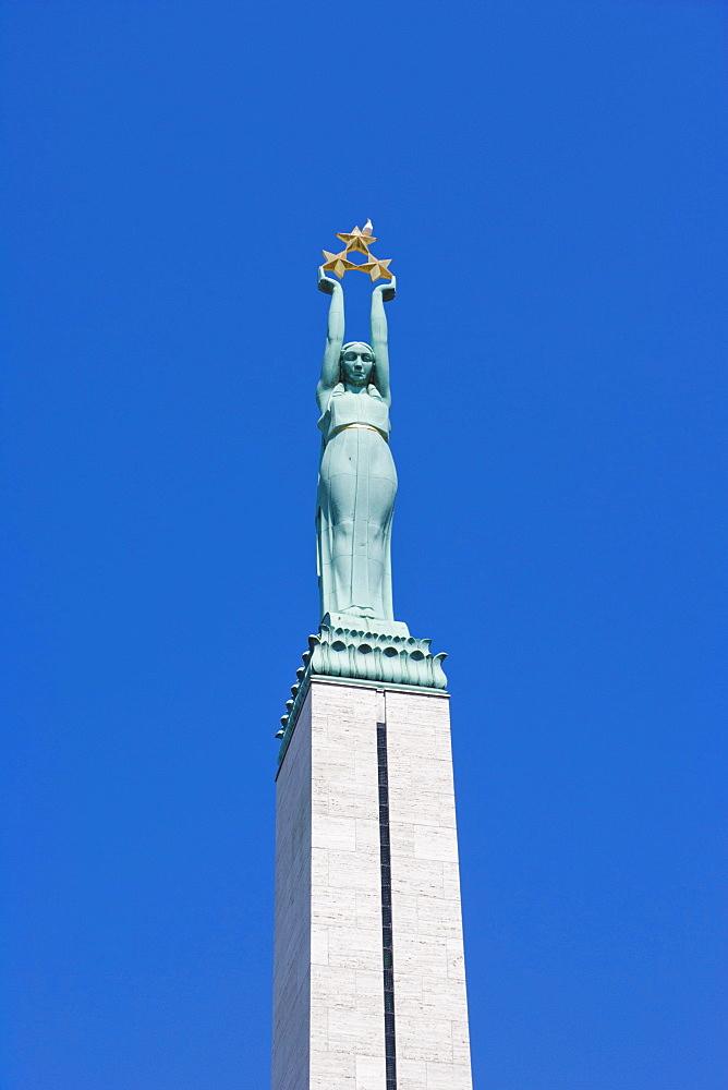 Brivibas Piemineklis, The Freedom Monument, by Karlis Zale, Brivibas Bulvaris Boulevard, Riga, Latvia, Northern Europe