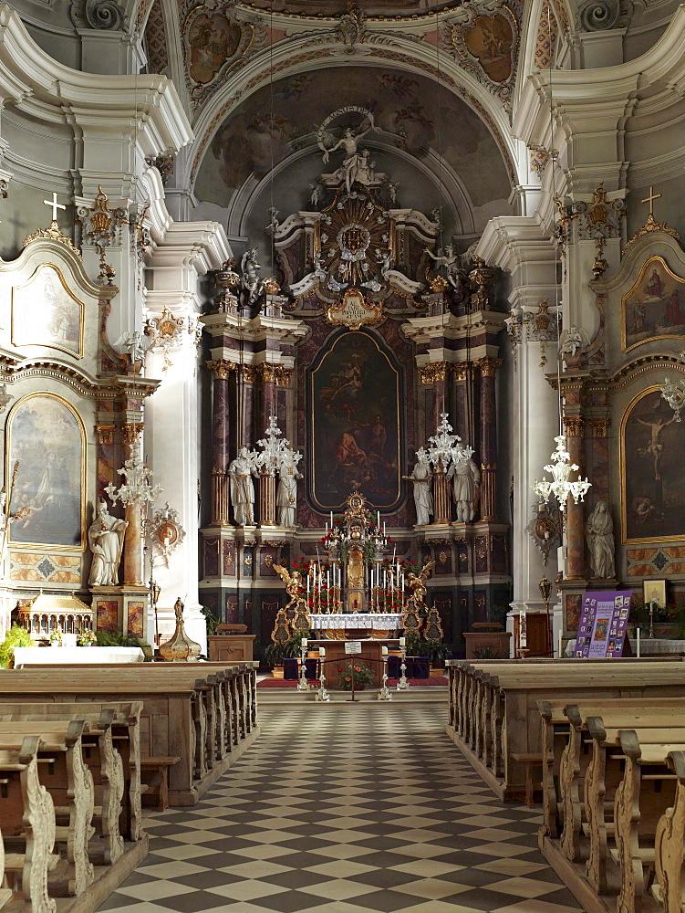 Interior of the baroque Parish Church of St. John the Baptist in Dobbiaco, Pusteria, Alto Adige, Italy, Europe