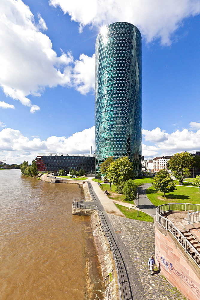 View over the river Main on the Westhafentower of the OFB with the bridge building and the Westhafen Haus building, architects Schneider + Schumacher and OFB project development GmbH, won the German Urban Development Prize in 2004, Westhafenplatz, Frankfu