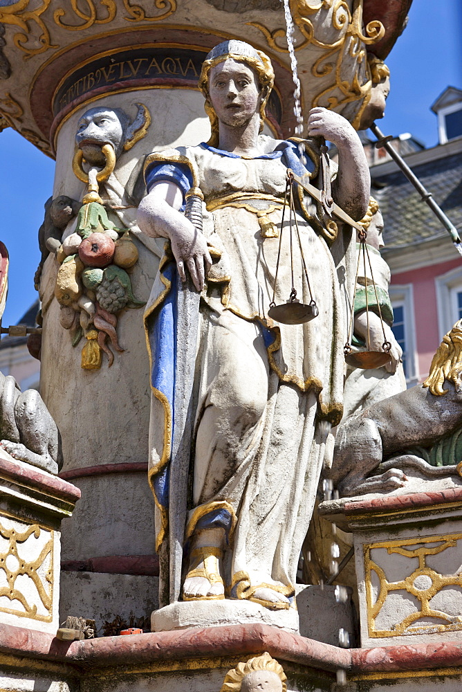 Petrusbrunnen fountain, detailed view, Hauptmarkt square, Trier, Rhineland-Palatinate, Germany, Europe