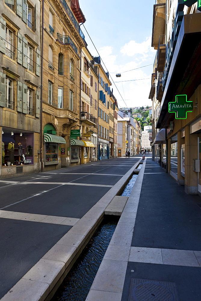 Old town with Rue de Tresor, Neuchatel, Canton Neuchatel, Switzerland, Europe