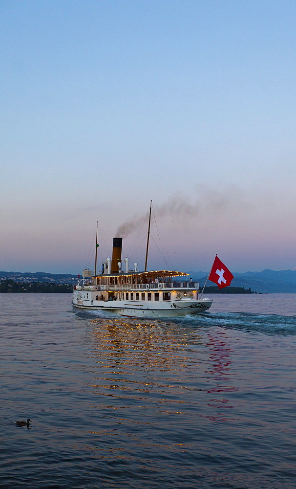 An old paddle-steamer as a ferry for tourists, Morges, canton of Vaud, Switzerland, Europe